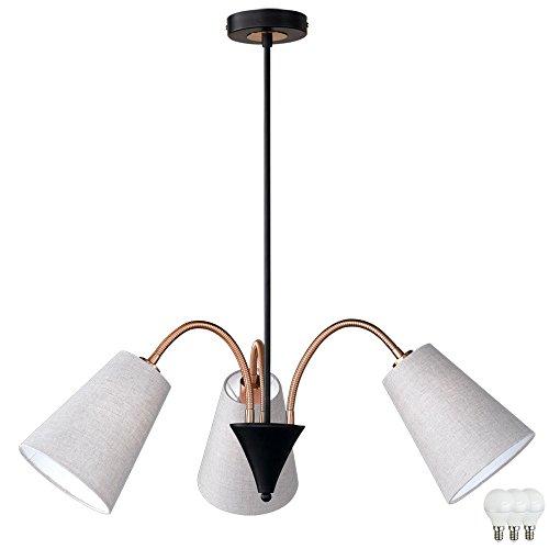 Hänge Lampe Pendel Leuchte Beleuchtung Decken Strahler Textil im Set inklusive LED Leuchtmittel