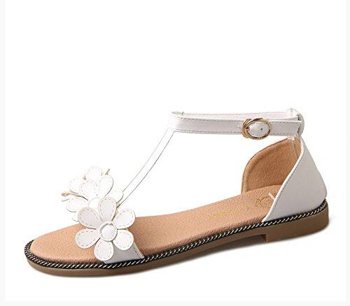 XY&GKFrauen Blumen Rom Sommer Sandalen Sandalen mit flachen Slip All-Match 39 meters white