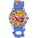 "Disney W001297 Jungen-Armbanduhr ""Planes"", Quarz, analog, weißes Zifferblatt, blaues Kunststoff-Armband"