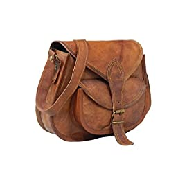 Fastyl Handmade 11″ Womens Real Leather Shoulder Cross Body Satchel Saddle Tablet Retro Rustic Vintage Bag Handbags Purse(26 x 23 x 10 cm)