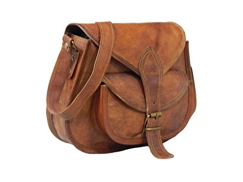 - 41CN1UPkL7L - Fastyl Handmade 11″ Womens Real Leather Shoulder Cross Body Satchel Saddle Tablet Retro Rustic Vintage Bag Handbags Purse(26 x 23 x 10 cm)