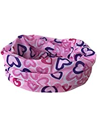 JTC Pink Heart-shaped Printed Neck Keep Warm Magic Headwear Face Mask Snood Scarf For Men Women