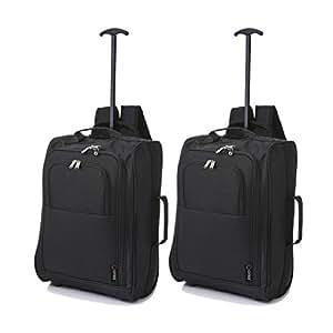 5 Cities Cabina Approvato Multi-uso Carry On Borse di volo / Bagaglio Trolley Zaini (2 x Nero)