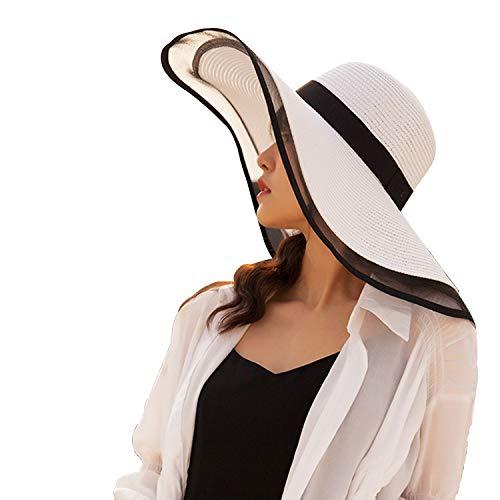 Shentukeji, Cappello Estivo in Paglia da Donna, con Visiera Parasole, Onde Laterali, per Spiaggia e Vacanze Bianco Taglia Unica