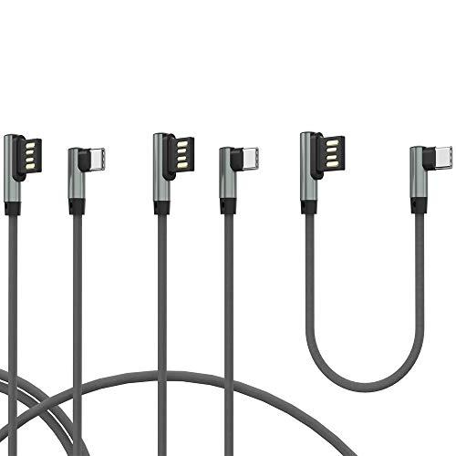 TECHGEAR Câble USB C, 3 Pack Câbles USB Type C à Angle Droit 90° Réversible à Charge et Sync Rapide Compatible avec Huawei P30, Moto G7, Samsung S10 S9 A20e A40 A50 A70, Pixel 3, OnePlus 7 etc -Gris