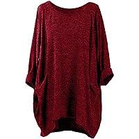 Luckycat Camisetas Mujer Da Manga Larga Anchas Tops Blusas Shirt Elegantes Basicas Cuello Redondo Otoño Invierno Colores Sólidos T-Shirt Camisas Juvenil