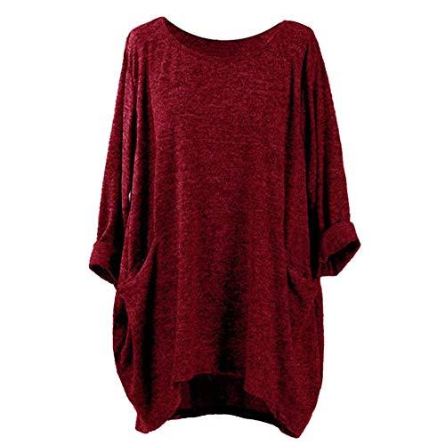Femmes T-shirt à manches longues Automne et hiver, Blouses décontractées en vrac Mode Poche supérieure Loisirs lâches Toamen (S, Vin rouge)