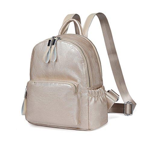 VASCHY Klein Rucksack Mini Rucksack Rucksack Mädchen Pu Leder Mode Schultasche Mädchen Leichte Rucksack Frauen (Gold)
