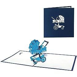 sweetpo Pup 3d Handmade Tarjetas de felicitación-Pop Up Tarjetas Tarjetas de felicitación para bebé niños Cumpleaños Invitación nacimiento Bautizo (cochecito Azul)