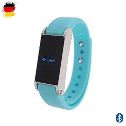 Fitness Armband Fitband Aktivitätstracker Bracelet Smartwatch mit OLED-Display Schrittzähler Kalorienzähler Schlafüberwachung Distanzmessung Bluetooth 4.0 mit IOS Apple und Android Smartphones/Tablets kompatibel (Türkis)