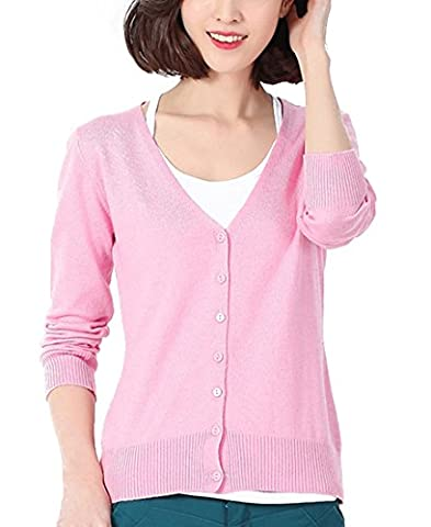 Panreddy Women's Wool Cashmere Classic Cardigan V-Neck L Pink