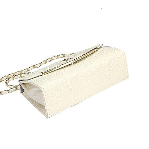 Yy.f Beutelfrauen Neue Version Des Zustroms Von Frauen Personen Persönlichkeit Wild Kurierpaket Kette Mode Schulter Mini Einfachen Paket. Multicolor White