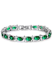 Yellow Chimes Royal Green Classic Look High Grade Cz Bracelet For Women
