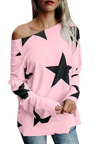 Damen Tops Oberteile lang Pullover mit Sternenmuster Schrägstrich Schulter Trägerlos T Shirt Langarmshirt Lässige Casual Basic Rosa 40-42/L (Pullover Damen Top)