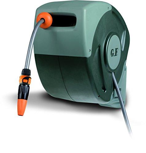 Automatische Schlauchbox für die Wand – Schlauchtrommel 180° Schwenkbar, Rewall Wandschlauchbox inklusive 25m Schlauch und Zubehör für Gartenbewässerung