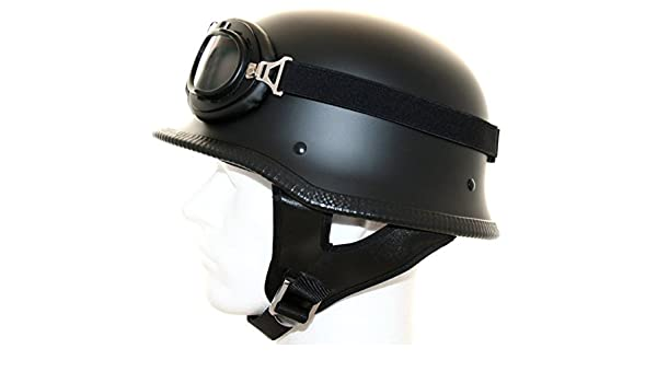 ATO WH2Motorcycle Steel Helmet /& Glasses Matte Black Size S to XL