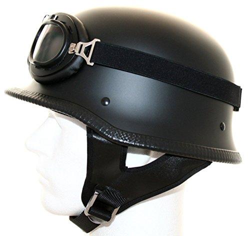 ATO Moto Motorradhelm halbschale Stahlhelm Oldtimer helm Brille Schwarz matt Größe: (M 57/58cm)
