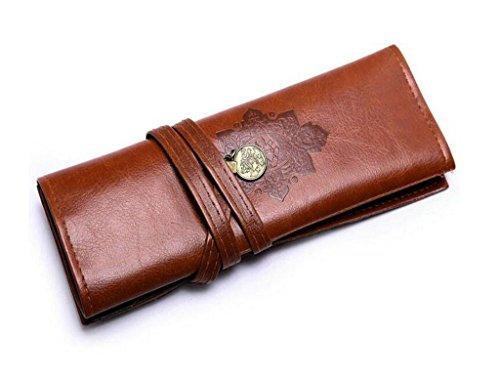 lameida Vintage Stil Bleistift Bag PU Leder Rollup Federmäppchen Große Kapazität Stifthalter Make-up Tasche - Leder Bleistift Roll-up-case Aus