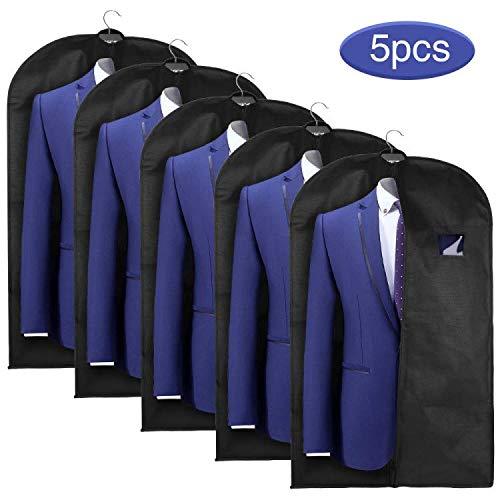 esonmus Kleidersack Kleidersäcke lang 5er Set Anzugsack Kleiderschutz 60x128 cm, Schwarz