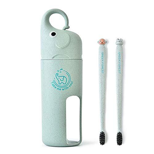 e Reisezahnbürstenhalter Umweltfreundliche Weizenstroh Niedlichen Elefanten Zahnpasta Becher Handtuch Tasse Aufbewahrungsbox Für Kinder Jungen Mädchen ()