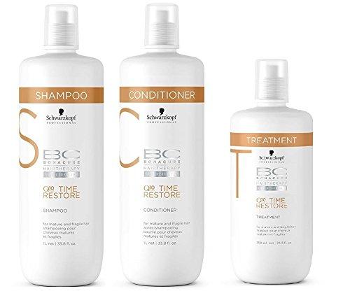 Schwarkopf Bonacure Q10 Time Restore Shampoo 1000ml, Conditioner 1000ml and Treatment 750ml