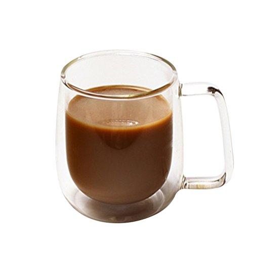 BESTONZON doppelwandige Gläser, Hitzebeständige Glas Kaffee Tasse Thermoglas mit Henkel