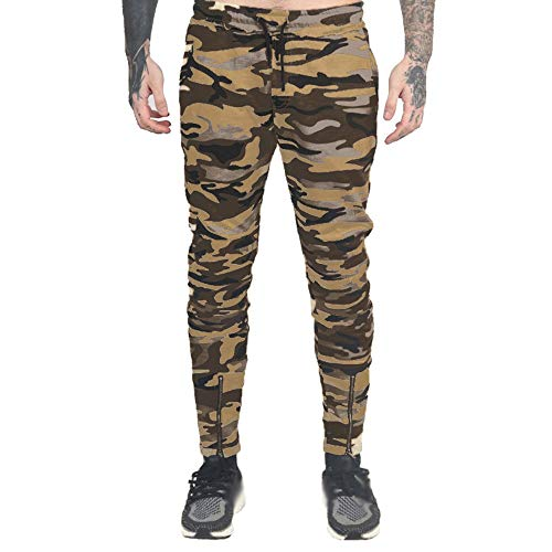 KPILP Hosen Herren 2018 Jeanpants Chino Solid Camouflage Tasche Lose Overalls Casual Pocket Sport Arbeit Casual Harem Trainingshose(B-gelb, M
