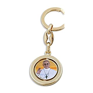 Rotatable keychains colorful Pope Francis / St. Peter's Basilica 9 cm
