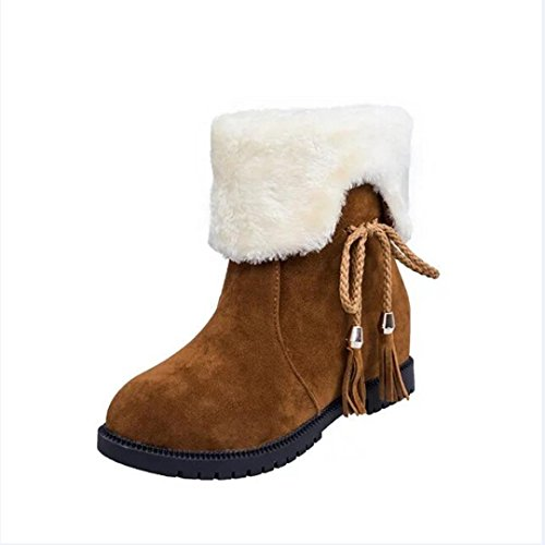 Xinan Stiefeletten Damen Schuhe Sexy Schnee Stiefel Winter Knöchel Stiefel Frauen Schuhe Heels Winterstiefel Mode Schuhe (38, Gelb)