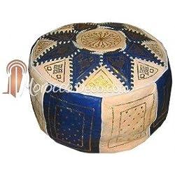 Puff de autentico cuero natural, mide de diámetro 45 cm y alto 23 cm aproximadamente.