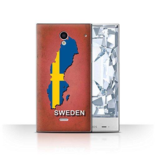 Stuff4® Hülle/Case für Sharp Aquos Crystal/306SH / Schweden/Schwedisch Muster/Flagge Land Kollektion -