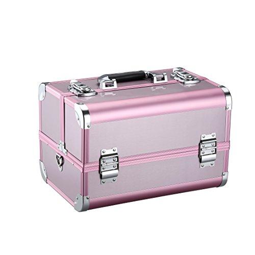 LANGRIA Maletín de Maquillaje Estuche Profesional en Aluminio con 4 Bandejas Escalonadas 10 Compartimentos Neceser para Cosméticos y Accesorios con Correa para el Hombro (Rosa)