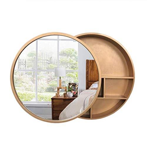 Spiegel? Badezimmer-Kabinett-runder Toiletten-Wand-Möbel-Eitelkeit mit Speicherregal-Schließfach 50cm (Farbe: Gold, Größe: 50cm) (Gold-eitelkeit-wand-spiegel)