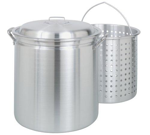 Bayou Classic 406060-quart alle Zweck Aluminium Suppentopf mit Dampf und Kochen Korb (Suppentopf Mit Dampfer-korb)
