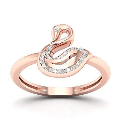 10CT Rose Gold Diamond Anniversary Ring Size 7.5 (0.05ct/ SI2,H-I) (Ring Diamond Rose 10k Gold)