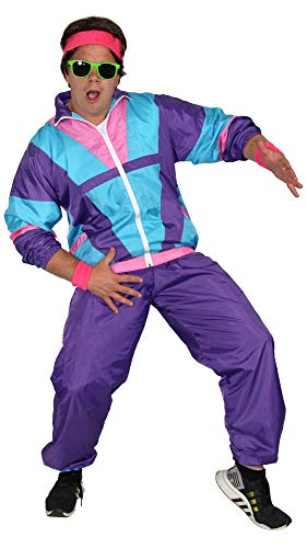Foxxeo 80er Jahre Kostüm für Herren - türkis lila rosa - Trainingsanzug Fasching Karneval Motto-Party, Größe:XXXXL (80er Jahre Motto Kostüm Herren)