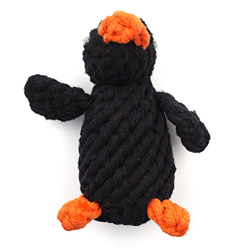 Pet-Dog-Puppy-Chew-Toy-Rope-Animal-Penguin-Tough-Cotton-Teeth-Cleaning-for-Small-or-Medium-Dog-Breed-Indoor-Playing-Tug-Toy-Black