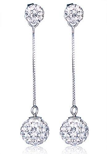 Yumi Lok sfere di cristallo in argento Sterling 925doppia goccia orecchini pendenti orecchini ipoallergenici orecchini per donna donne ragazza