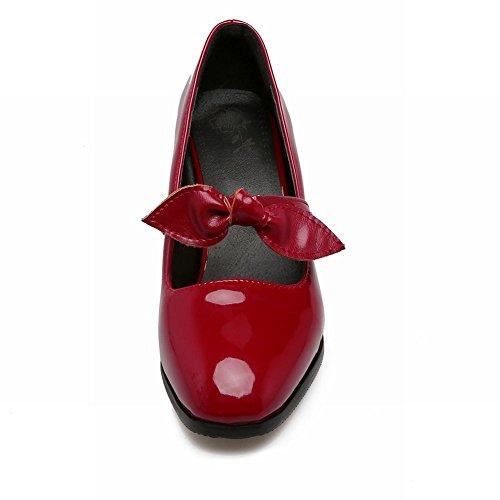 Mee Shoes Damen chunky heels Schleife Geschlossen Pumps Rot