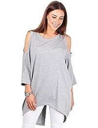 KRISP® Femmes Sweatshirt Oversized avec Collier Asymétrique Tendance
