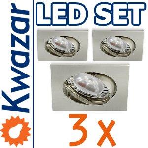 Super Set 3er K-4 Schwenkbares Einbaustrahler Power Led 3x1w 35w Gu10 Fassung 230v von Kwazar Leuchte