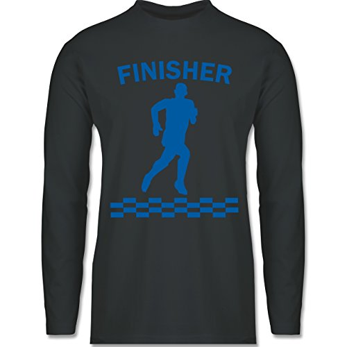 Shirtracer Laufsport - Finisher - Herren Langarmshirt Dunkelgrau