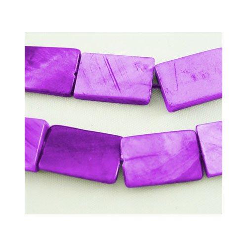 Strang 20+ Lila Gefärbten Schale 10 x 15mm Flach Rechteck Perlen - (Y06735) - Charming Beads (Flache Rechteck Strang Perlen)