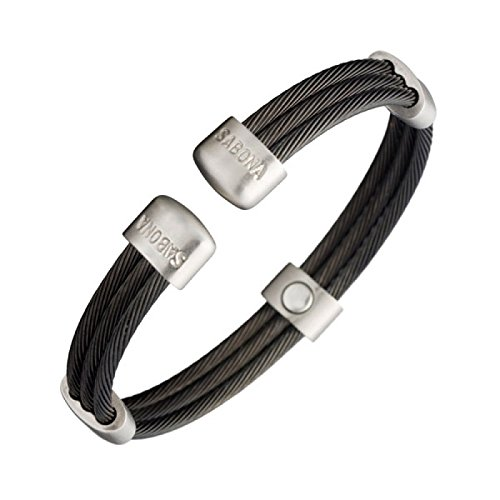 Magnetic Bracelet - Trio Cable Black Satin - Three matte finished black cables are connected together and accented by five brushed satin stainless steel connectors, each containing a 1200 gauss magnet. , sizes:XL - 20 - 22.5cm