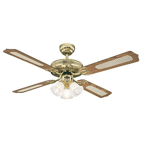 41CNFF%2B5xOL. SS500  - Westinghouse Ceiling Fans 78171 Monarch Trio 132 cm Polished Brass Ceiling Fan, Light Kit with Frosted Glass