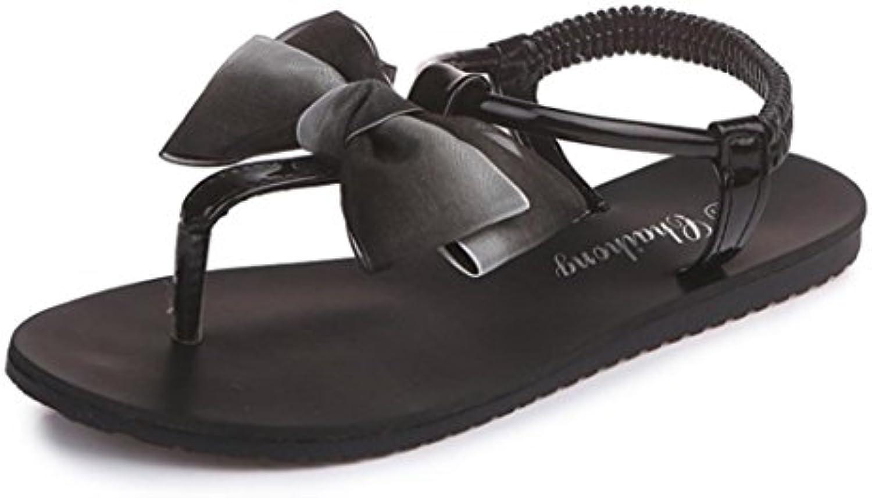 Xmansky Damen Böhmen Flache Schuhe Bowknot Freizeit Sandalen Peep-Toe Zehentrenner Flip Flops Sandalen