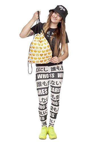 Imagen de emoji emoticono bolsa con cordón, color amarillo gym sac bolsa gymbag– gimnasio wear escuela stringbag hipster alternativa