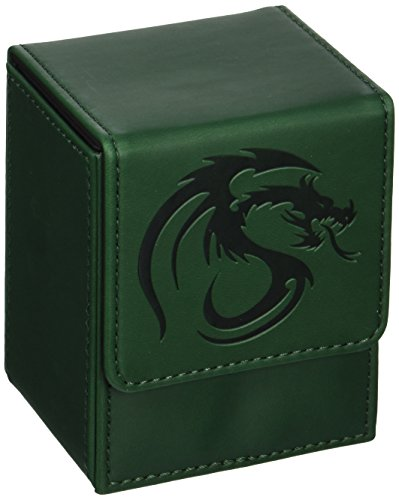BCW Leatherette GREEN Deck Case LX Flip Box With Magnetic Closure for Collectable Gaming Cards, Magic the Gathering MTG, Pokemon, Yugioh, & More. Embossed Dragon Graphic, Designed to Hold 80 Sleeved Cards. (Pokemon Brett Spiel)