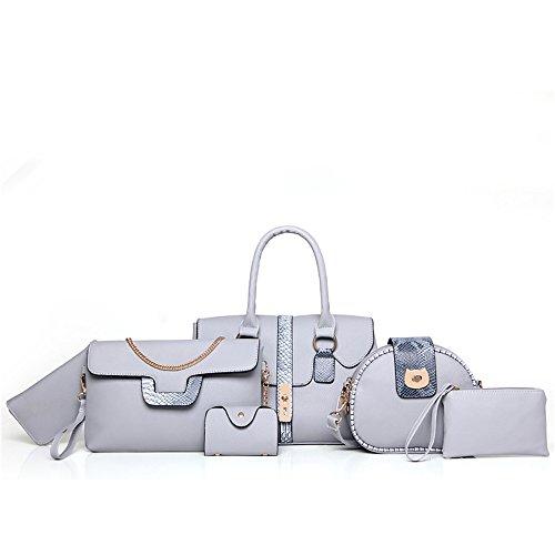 TEBAISE Damen Kunstleder Handtasche Tasche 6 teiliges Set mit Crossbody Tasche und Handtasche Kartentasche Frauen Handtasche Mode Paket sechs Sets + Schulter diagonal Paket + Geldbörse