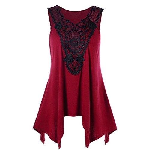 p, Damen Fashion Lace Sleeveless Unregelmäßige Plus Size Sommer Strand T-Shirt V-Ausschnitt Trim Weste T-Shirt (2XL, Wein) (Box Wein Kostüm)
